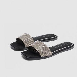 ZARA | embellished rhinestone diamond slide sandal